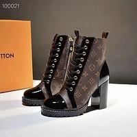 LV Louis Vuitton Martin boots Monogram print Shoes High heel high tops Shoes