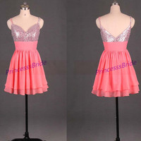 Short watermelon homecoming dress in chiffon,2014 sexy v-neck gowns for holiday party,cheap cute prom dresses under 100.