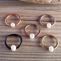 BCR,Captive Fresh Water Pearl Septum,Upper Ear Daith Rook,Tragus,Cartilage,Helix,Hoop Earring,Nose Ring,Eyebrow Piercing 316L Surgical Steel