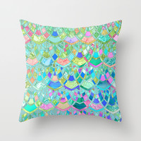 Art Deco Watercolor Patchwork Pattern 1 Throw Pillow by Micklyn