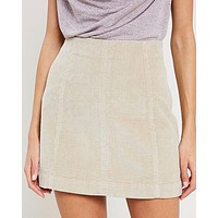 Corduroy Mini Skirt in Natural