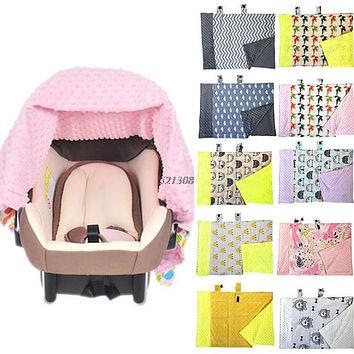 Baby Infant born Cartoon Soft Blanket Nursing Car Seat Canopy Pattern Cover