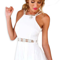White Strappy Backless Lace Panel Playsuit