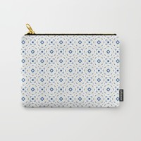 Acrylic Blue Square Dots Carry-All Pouch by Doucette Designs