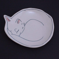 Sleeping Kitty Dessert Plate