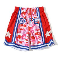 Onewel BAPE breathable sports camouflage star shorts Mesh Red