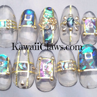 Clear Abalone Shell  with studs false/fake nails 3d japanese nail art