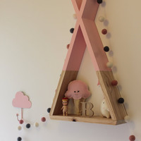 Teepee Shelf Shelves Pink Tribal Nursery Decor Woodland Nursery Decor kid's room Decor Girl's room decor Wall Decor