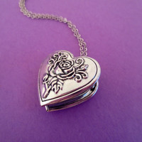 Silver Rose Locket Necklace