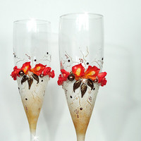 Beautiful Hand Decorated Fall Rustic Wedding Anniversary Champagne Glasses Elegant Toasting Flutes Beads Lilies & Roses by Elena Joliefleur