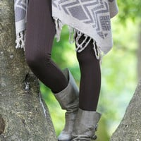 Coffee Cable Knit Fleece Leggings - Plus Size!