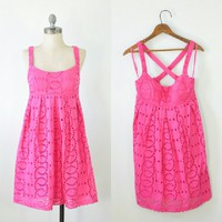 Pink Eyelet Dress | pink Embroidered Dress | Small