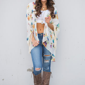 The One For You Floral Fringe Kimono (Soft Yellow)