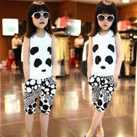 new arrive best price Girls&boy Set girl tshirt Panda Tank Tops +Harem Pants Childrens Outfits Kids Summer Clothes 8pcs=1lot D275
