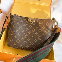 Hipgirls LV Fashion New Stripe Monogram Print Leather Shoulder Bag Crossbody Bag