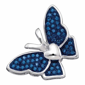 10kt White Gold Womens Round Blue Color Enhanced Diamond Butterfly Bug Pendant 1-6 Cttw - FREE Shipping (US/CAN)