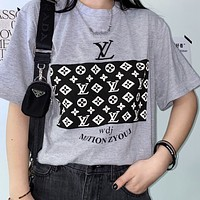 LV 2020 new cotton printed logo round neck half sleeve T-shirt