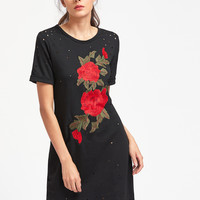 Black Rose Embroidered Distressed Cuffed Tee Dress