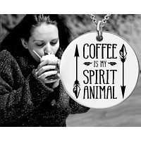 Coffee is My Spirit Animal Necklace
