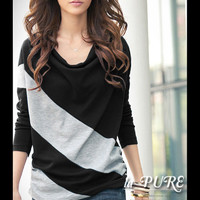 Fashionable New Style Long Sleeve Loose Tee Black-Clothes Online