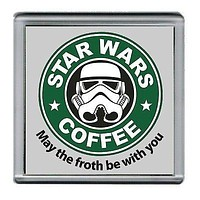 Star Wars Stormtrooper Parody Starbucks Coffee mug Coaster 4 X 4 inches