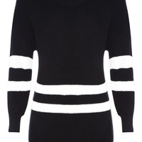 Black Oversized Sporty Knitted Pullover