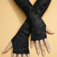 Black Armwarmers with Thumb Holes, Fingerless Gloves Gothic and Steampunk, Flowered Burnout, Fusion Dance, Retro