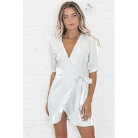 Show Stopper Silky Wrap Dress