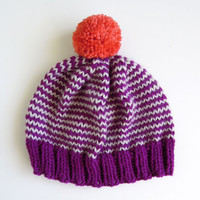 The Stripe-A-Thon Hat in Berry, Platinum, Coral - READY TO SHIP