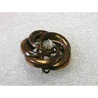 """Victorian 1800's 10kt. G.F. Love Knot Spiral Brooch with Moonstone Cabochon Center, 1"""", Rose Gold  Hue"""