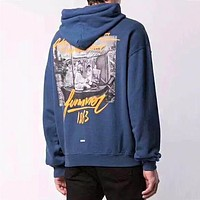 Off-white casual hoodies are hot sellers of printed cotton hoodies with fleece Dark Blue