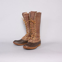 "Vintage LL BEAN Hunting BOOTS / 80s 16"" Tall Men's Maine Hunting Shoe Lace-Up Duck Boots 11"