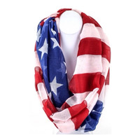 Red White and Blue 'American Flag' Infinity Scarf