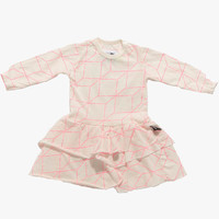 Nununu Tutu Grid Dress in Pink - NU0614