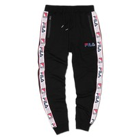 Fila New fashion letter string mark print sports leisure pants Black