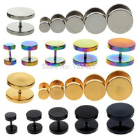 2Pcs Black Sliver Gold Stainless Steel Fake Cheater Ear Plugs Gauge Body Jewelry Pierceing 6-14mm