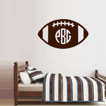 Football Circle Monogram, Vinyl Wall Lettering, Sports Quote, Vinyl Wall Decal
