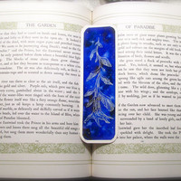 Interstellar Fantasy Tree Bookmark cosmic angel wings cobalt blue galaxy sky