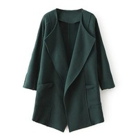 Angled Hem Wide Lapel Structured Coat
