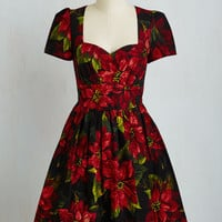 50s Mid-length Short Sleeves Fit & Flare Only In Merry Tales Dress