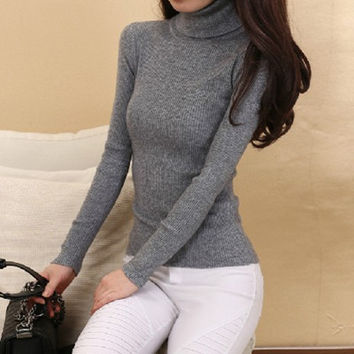 Cashmere Sweater Women Turtleneck Pullover Ladies sweaters Shirt Hot Sale Wool knitted sweater Female Warm Tops Sale Clothing