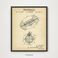 American Football Ball Patent Art, Digital Download, Game Ball Poster, Football Gifts, Nursery Decor, NFL Ball Blueprint, Football Print