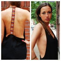 Black Sleeveless Top with Open Back & Tribal Print Detail