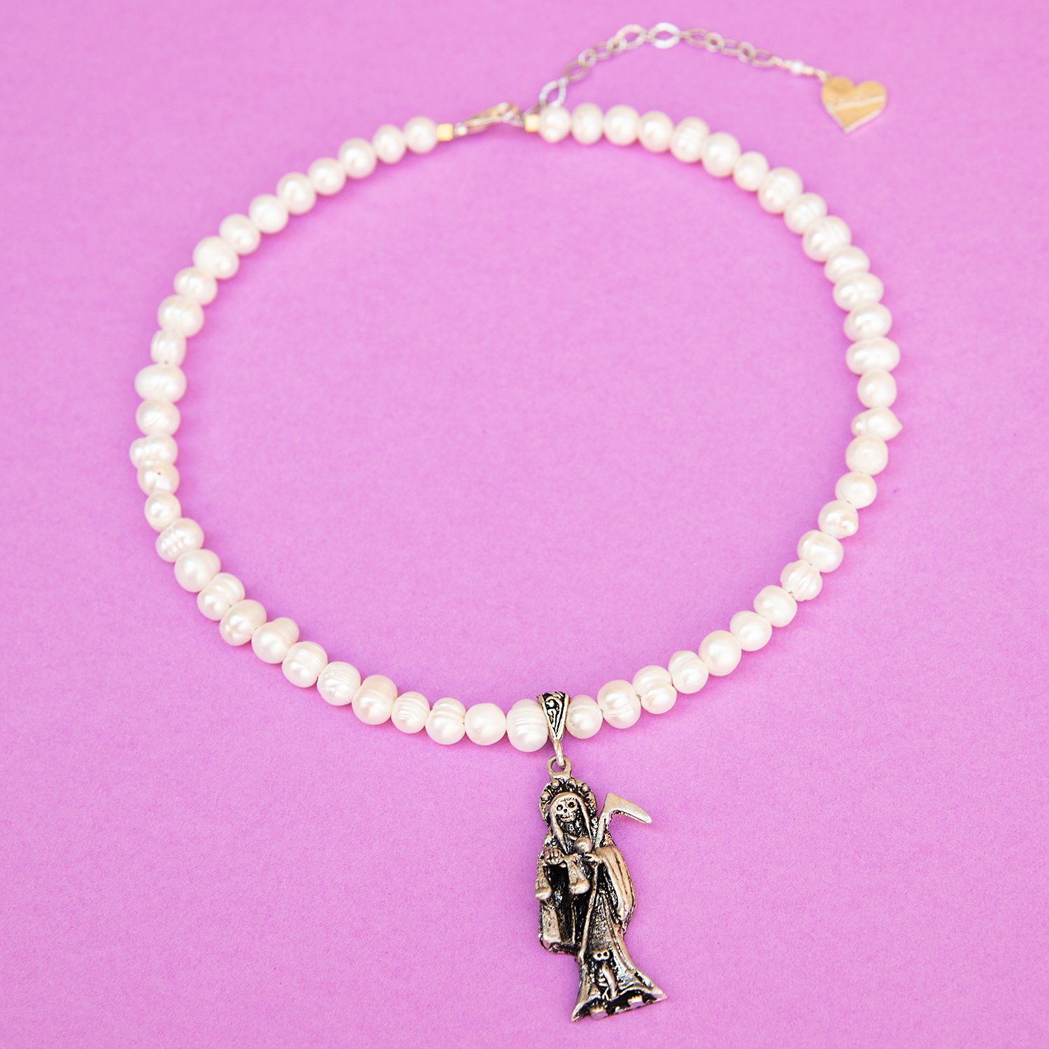 Image of Pearl Grim Reaper Necklace