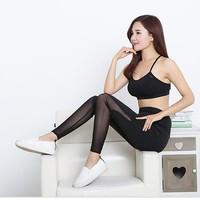 socks tights leggings fitness sports for women Black mesh see through gym leggings Transparent lace leggings sports leggins P77