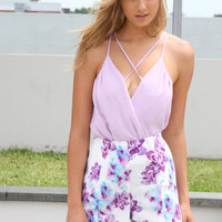 Lilac Lattice Bodysuit with Cross Over Front & Back Detail