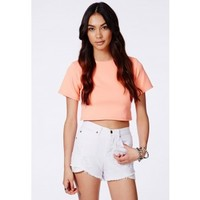 Missguided - Jaza High Waisted Ripped Cut-Off Shorts