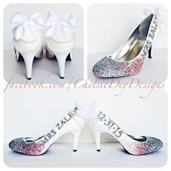 Ombre Glitter High Heels, Pink White Silver Ombre Wedding Shoes