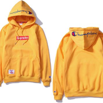 sup embroidery and velvet hooded hooded sweater men and women couples