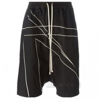 Indie Designs Rick owens Inspired Cyclops Black & Pearl Embroidered Shorts